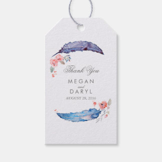 Bohemian Feathers Wedding Gift Tags
