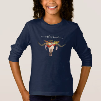 Bohemian Floral Antler Skull. Wild at Heart T-Shirt