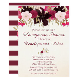 Bohemian Floral Honeymoon Shower Invitation