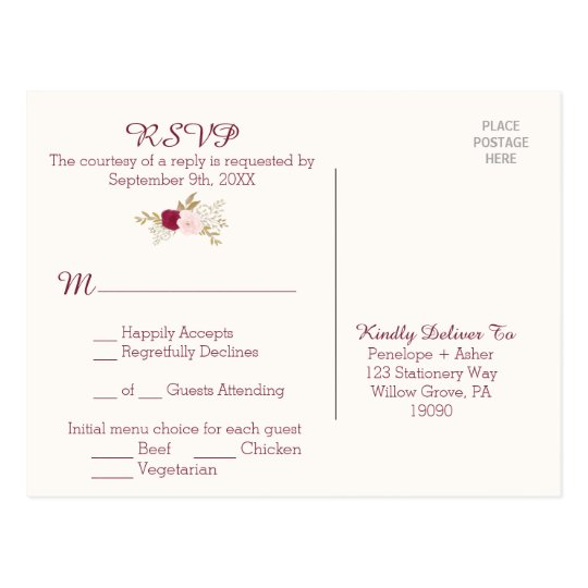 Bohemian Floral RSVP Postcard with Menu Choice