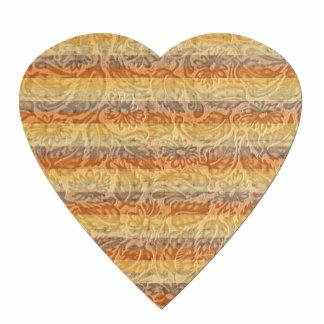 Bohemian Floral Stripes Heart Photo Sculpture Magnet