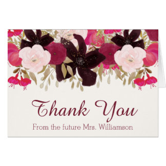 Bohemian Floral Thank You From the Future Mrs Card