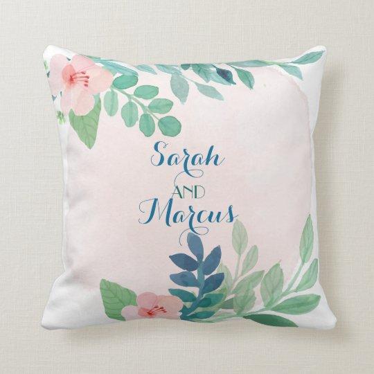 Bohemian Floral Watercolor Couples Pillow