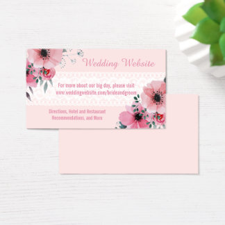 Bohemian Floral Wedding Website Cards | Blush Pink