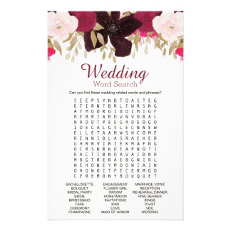 Bohemian Floral Wedding Word Search Shower Game Flyer