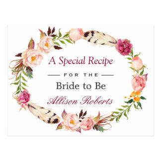 Bohemian Floral Wreath Boho Bridal Shower Recipe Postcard
