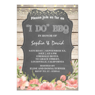 Bohemian Flowers I DO BBQ Old Barn Engagement Card