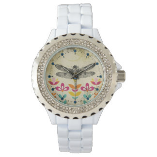 Bohemian Garden Dragonfly Rhinestone Enamel Watch