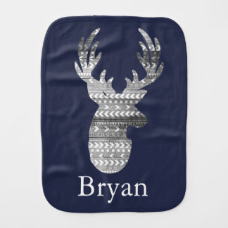 Bohemian Geometric & Gray Barn Wood Deer Burp Cloth