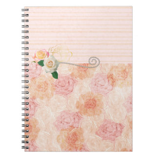 Bohemian Girly Design with Pink Roses Note Books