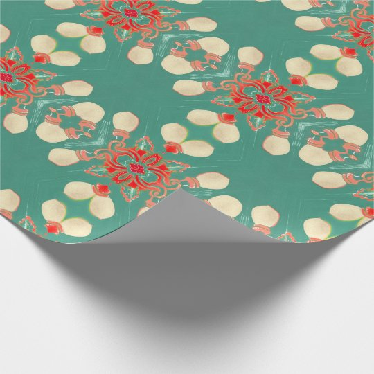 Bohemian Glam Turquoise Coral Gold Street Lights Wrapping Paper