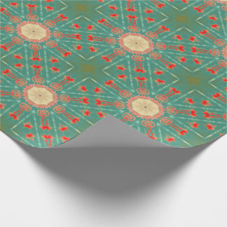 Bohemian Glam Turquoise Coral Starbursts Wrapping Paper