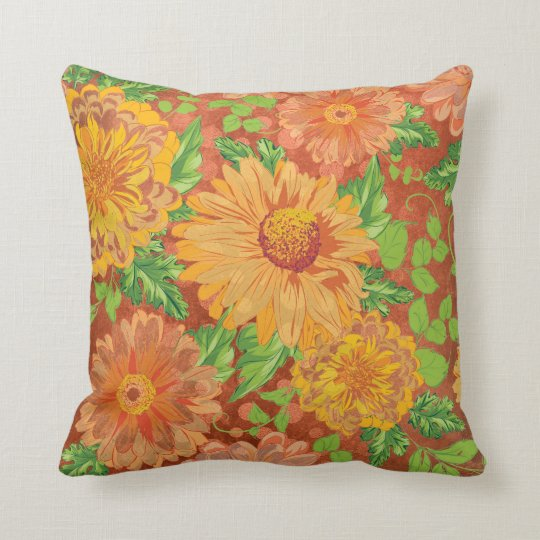 Bohemian Glowers Bricks Yellow Mint Spring Garden Throw Pillow