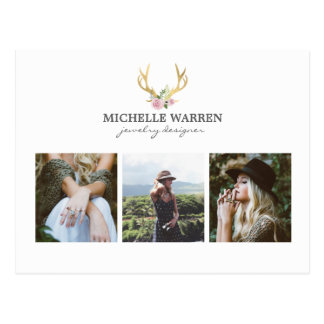 Bohemian Gold Antlers Jewelry Boutique Photo Card