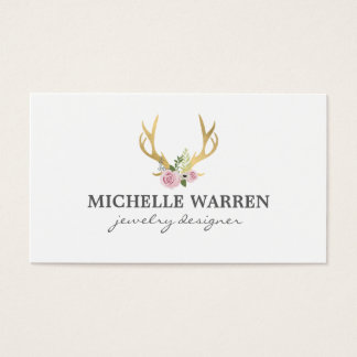 Etsy business cards business card printing zazzle ca bohemian gold antlers with flowers business card reheart Images