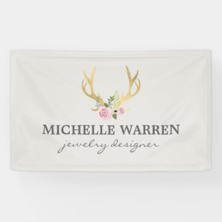 Bohemian Gold Antlers with Flowers II Banner