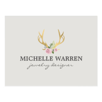 Bohemian Gold Antlers with Flowers II Postcard