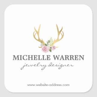 Bohemian Gold Antlers with Flowers Personlized Square Sticker