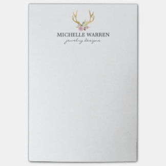 Bohemian Gold Antlers with Flowers Post-it® Notes
