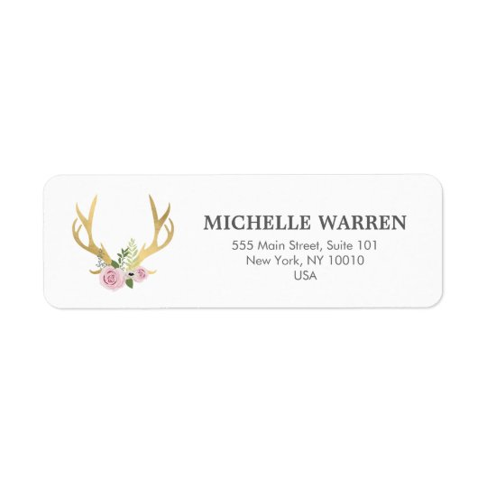 Bohemian Gold Antlers with Flowers Return Address Label