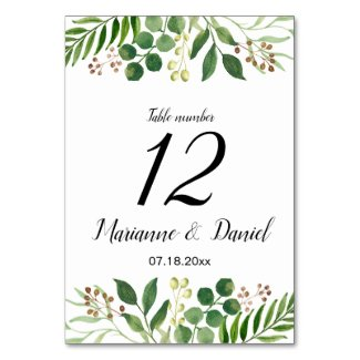 Bohemian greenery wedding table number