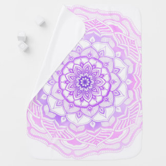 Bohemian Hand Drawn Mandala Pink Purple Baby Blanket