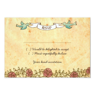 Bohemian Heart, Roses, Birds, & Banner Wedding Card