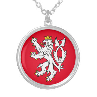 Bohemian heraldic lion silver plated necklace