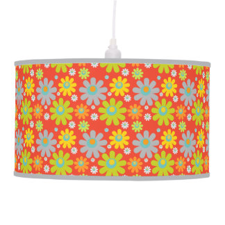 Bohemian Hippie Daisies on Red/Orange Pendant Lamp