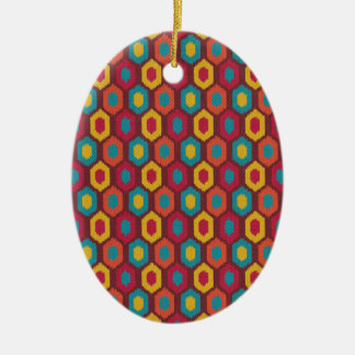 Bohemian Ikat Ceramic Ornament