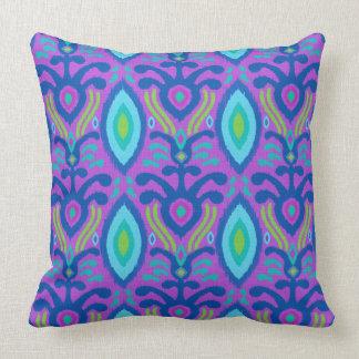 Bohemian Ikat Pillow (purple turquoise)