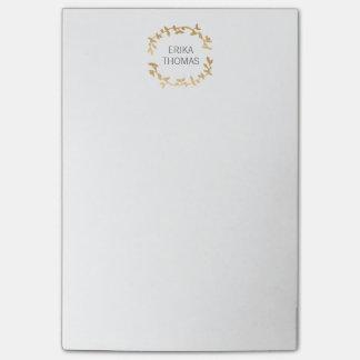BOHEMIAN LEAF WREATH LOGO in GOLD Post-it® Notes