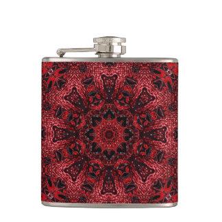 bohemian moroccan maroon burgundy mandala hip flask