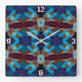 Bohemian ornament in ethno-style, Aztec Square Wall Clock