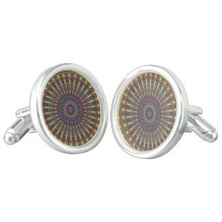 Bohemian oval mandala cufflinks