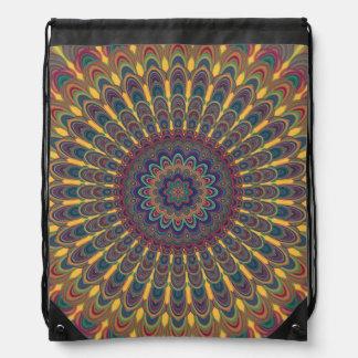 Bohemian oval mandala drawstring bag