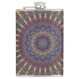 Bohemian oval mandala hip flask