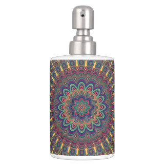 Bohemian oval mandala soap dispenser and toothbrush holder