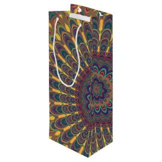 Bohemian oval mandala wine gift bag