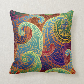 Bohemian Paisley Timeless Pattern Throw Pillow