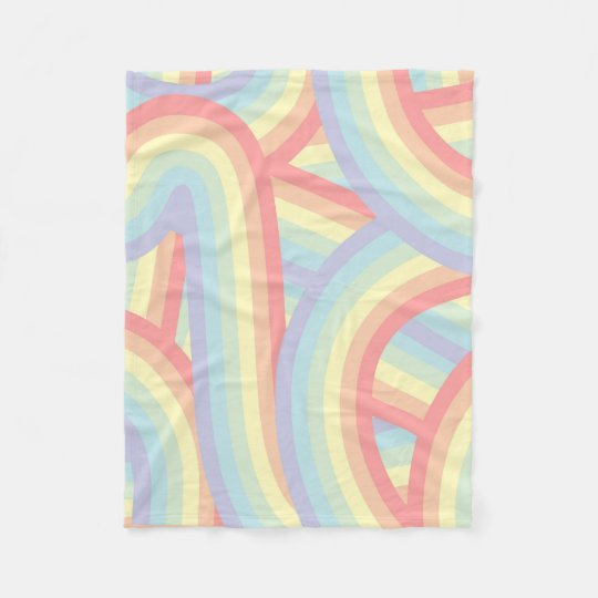 Bohemian Pastel Rainbow Stripes Pattern Fleece Blanket
