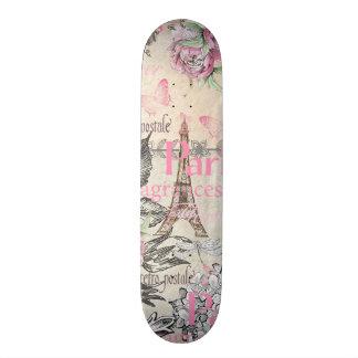 Bohemian pink black floral Paris Eiffel Tower typo Skate Board