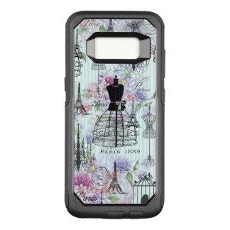 Bohemian pink floral stripes paris mannequin OtterBox commuter samsung galaxy s8 case
