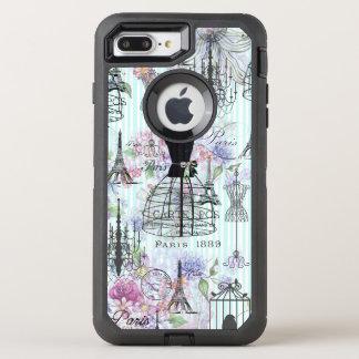 Bohemian pink floral stripes paris mannequin OtterBox defender iPhone 8 plus/7 plus case