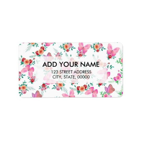 Bohemian pink watercolor roses flowers butterfly label