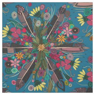 bohemian posy blue fabric