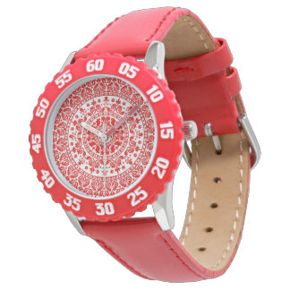 BOHEMIAN RED FLORAL WRIST WATCH