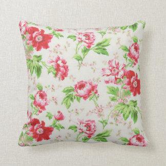 Bohemian Red Peony Flowers Modern Pillow