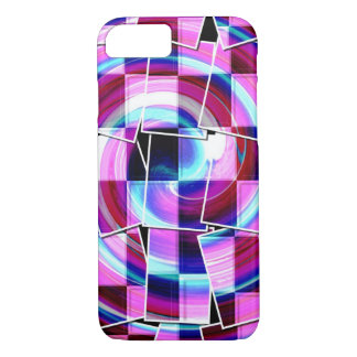 Bohemian Retro Mod Purple fuschia squares pattern Case-Mate iPhone Case