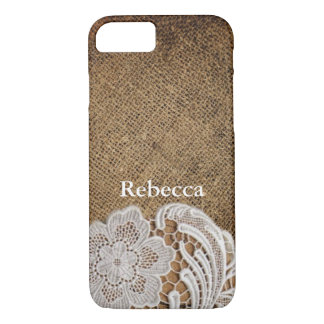 bohemian rustic western country burlap and lace iPhone 8/7 case